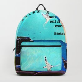 When We Are In Love Inspirational Quote With Blue Ocean Flying Birds Painting Backpack