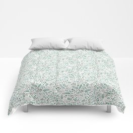 Green Leaves and Red Berries. Comforters