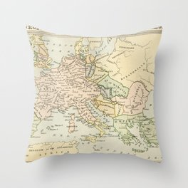 Old Map of Europe under the Empire of Charlemagne Throw Pillow