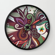 Floral curves II Wall Clock