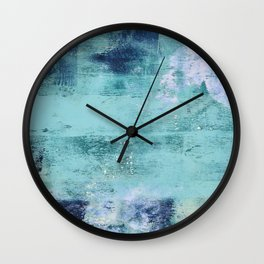 012.3: a bright contemporary abstract piece in teal and lavender by Alyssa Hamilton Art  Wall Clock