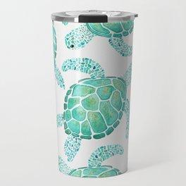 Sea Turtle Pattern - Blue Travel Mug