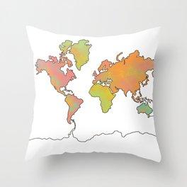 Contour Map of the World Throw Pillow