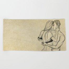 valentine kiss #3 Beach Towel