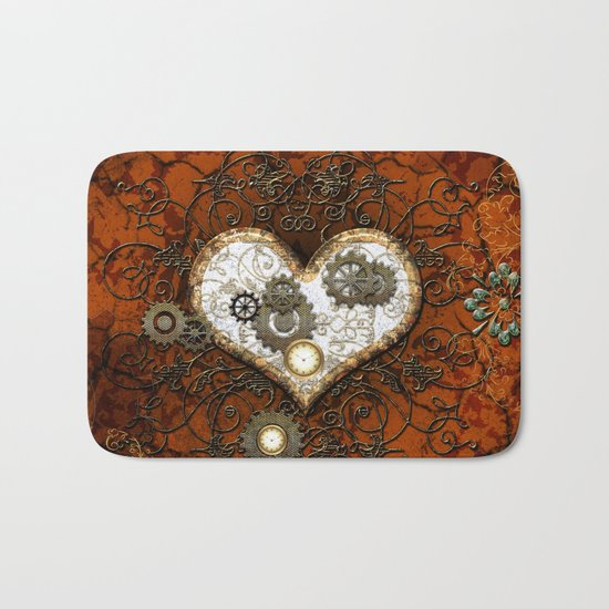 Steampunk, wonderful heart Bath Mat