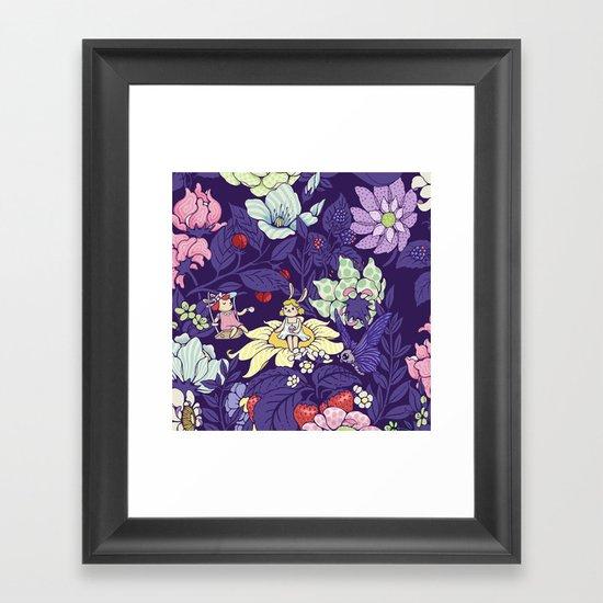 Garden party - blueberry tea version Framed Art Print