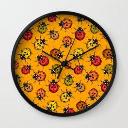 Colorful ladybugs Wall Clock