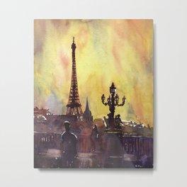 Eiffel Tower rising above buildings of Paris, France.  Metal Print
