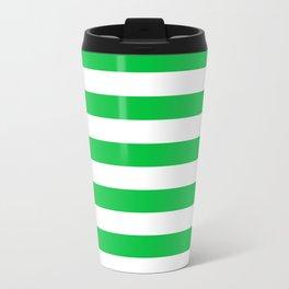 Narrow Horizontal Stripes - White and Dark Pastel Green Travel Mug