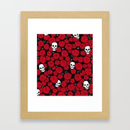 Skulls and Roses Pattern Framed Art Print