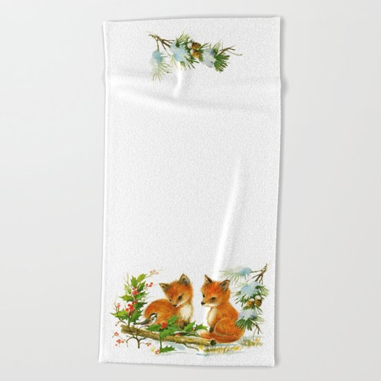 Vintage dream- little Winterfoxes in snowy forest Beach Towel