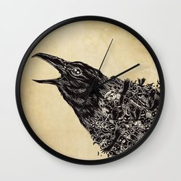 CROW-ded Wall Clock