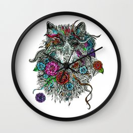 Floral Wolf. Wall Clock
