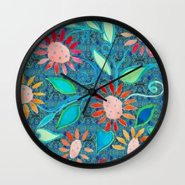zakiaz ocean of flowers Wall Clock