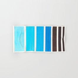 Cerulean Blue Minimalist Watercolor Mid Century Staggered Stripes Rothko Color Block Geometric Art Hand & Bath Towel