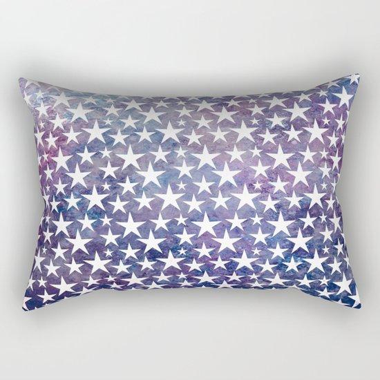 White stars on bold grunge blue background Rectangular Pillow