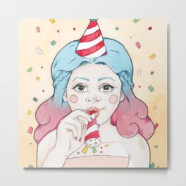 Blue and Purple Haired Party Girl Iris with a Popper, Party Hat & Confetti Metal Print
