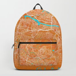 Glasgow, Scotland, Gold, Blue, City, Map Backpack