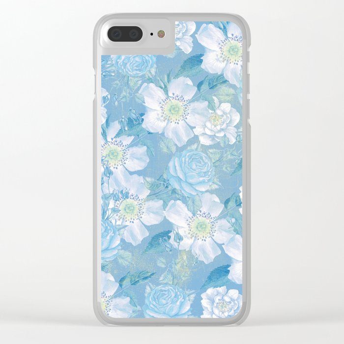 Blue Vintage Rose Pattern Clear iPhone Case