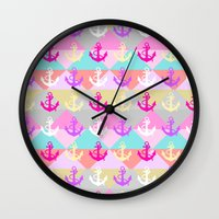 anchors Wall Clocks featuring Anchors by Ornaart