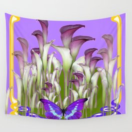 ART NOUVEAU PURPLE CALLA LILIES & BUTTERFLY FLOWERS ART Wall Tapestry