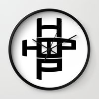 hip hop Wall Clocks featuring HIP HOP by Erin Thomas