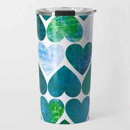 Mod Green & Blue Grungy Hearts Design Travel Mug