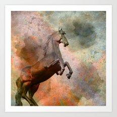 the golden horse - textured  Art Print