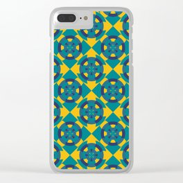 Simple geometric boat helm in blue and yellow Clear iPhone Case