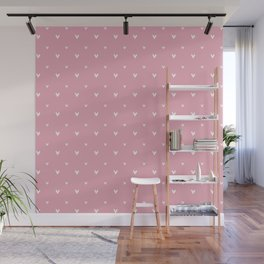 Small sketchy white hearts pattern on pink background Wall Mural