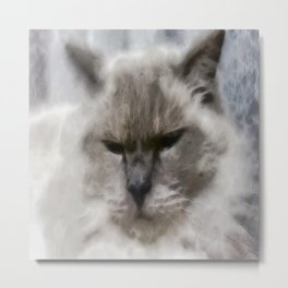 White Persian Cat In Watercolor Metal Print