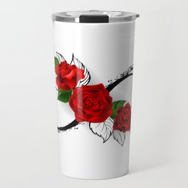 Infinity Symbol with Red Roses Travel Mug
