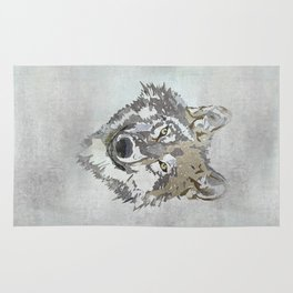 Wolf Head Illustration Rug