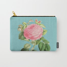 Vintage Flowers - Pink Rose Carry-All Pouch