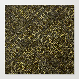 Photography Terms Word Cloud Pattern Gold on Black Canvas Print
