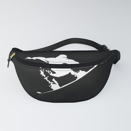 Snowboarding White Abstract Snow Boarder On Black Fanny Pack