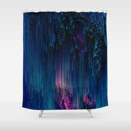 Glitchy Night - Abstract Pixel Art Shower Curtain