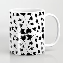 Monochrome pattern with imitation feathers. The texture of fabric from the shadows of birds. Coffee Mug