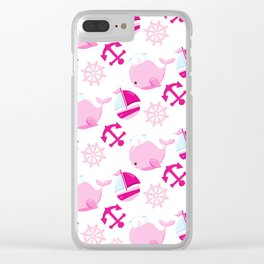 Whale Pattern, Sailor Whales, Sailor Boats - Pink Clear iPhone Case