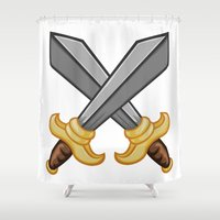 fight Shower Curtains featuring FIGHT by Countmoopula