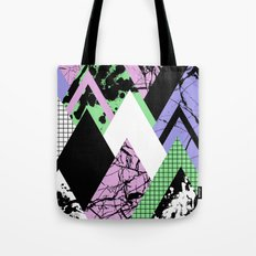 Textured Points - Marbled, pastel, black and white, paint splat textured geometric triangles Tote Bag