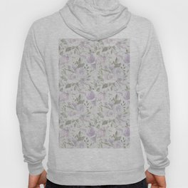 Mauve green lavender blush watercolor boho floral Hoody