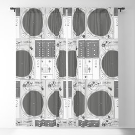 Dj set - Turntables and Mixer illustration - sketch / drawing Blackout Curtain