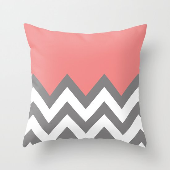 Coral Colorblock Chevron Throw Pillow By N A T Society6