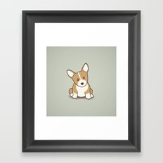 Welsh Corgi Puppy Illustration Framed Art Print