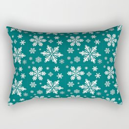 SNOWFLAKES ON TEAL Rectangular Pillow