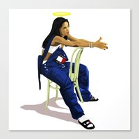 aaliyah Canvas Prints featuring Aaliyah by MikeHanz