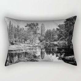 The Three Brothers, 3,818 feet, reflected, Yosemite, California by Carleton Watkins and Isaiah Taber Rectangular Pillow