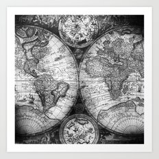 World Map Antique Vintage Black and White Art Print