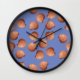 Blue Big Clams Illustration pattern Wall Clock